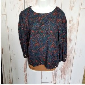 Vintage soft rayon midnight blue paisley blouse